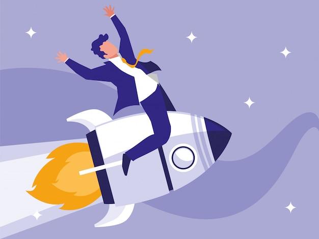 Empresário de sucesso comemorando no foguete