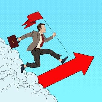 Empresário de sucesso de pop art com bandeira correndo até o topo. liderança de motivação empresarial.