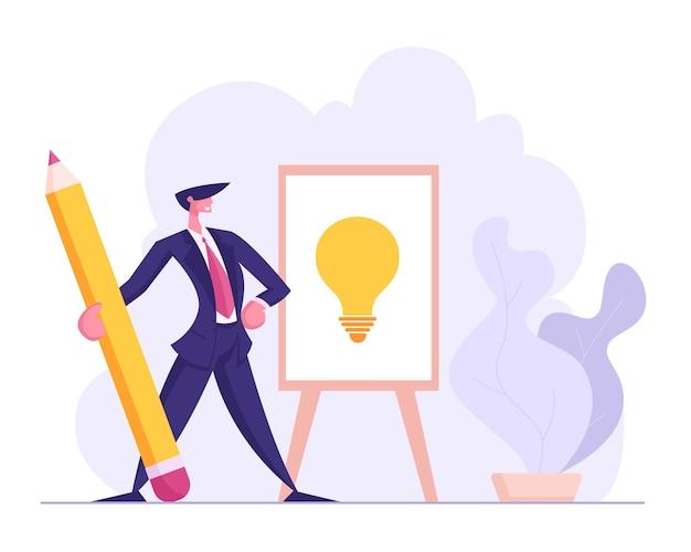 Empresário de sucesso desenha lâmpada com ilustração a lápis