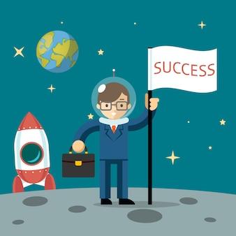 Empresário de sucesso fica com a lua segurando uma bandeira e uma maleta. ilustração vetorial