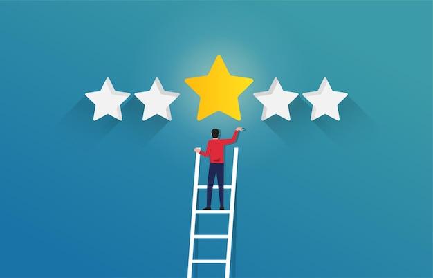 Empresário de sucesso na escada para alcançar a ilustração estrela. sucesso em negócios e símbolo de carreira.
