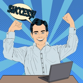 Empresário de sucesso no trabalho com o laptop. ilustração vetorial no estilo pop art