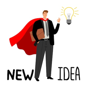 Empresário de super-herói com lâmpada