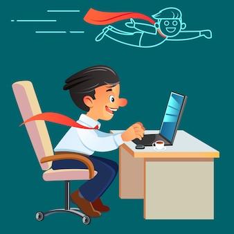 Empresário de super-herói trabalhando no escritório. satisfeito com o trabalho realizado. jovem feliz trabalhando no laptop enquanto está sentado no seu local de trabalho no escritório.