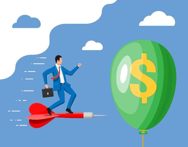 Empresário de terno em dardo perfura o balão com o cifrão. conceito de problema econômico ou crise financeira, recessão, inflação, falência, perda de renda, perda de capital. ilustração vetorial plana