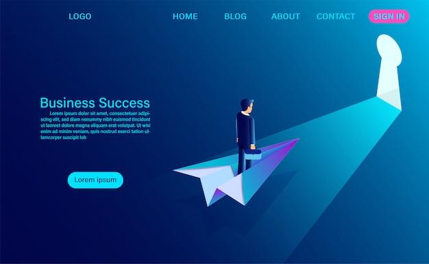 Empresário de terno em pé em um avião de papel enquanto voa ir para o slot de chave. conceito de sucesso do negócio. comece. ilustração isométrica plana