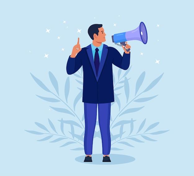 Empresário de terno segurando o megafone e gritando por ele. anúncio de boas notícias. atenção por favor. alto-falante, alto-falante com megafone. propaganda e promoção. marketing de mídia social