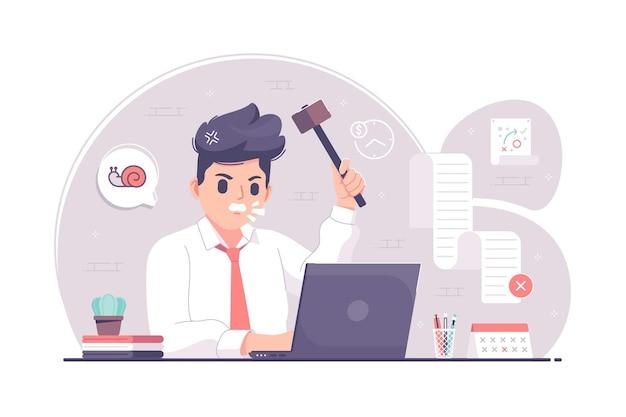 Empresário de trabalho com estresse emocional segurando ilustração de martelo