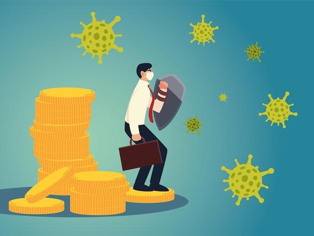 Empresário de vírus covid 19 com máscara e escudo em design de moedas do tema ncov cov e coronavirus 2019