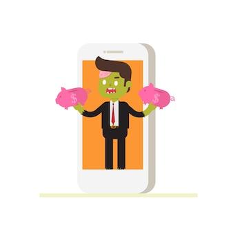 Empresário de zumbi sair do telefone com dois cofrinho