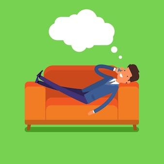 Empresário deitado no sofá e falando ao telefone. design plano, ilustração vetorial.