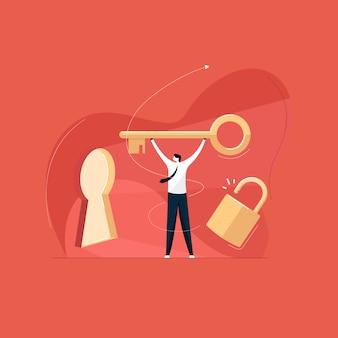 Empresário desbloquear oportunidades, chave para o conceito de sucesso
