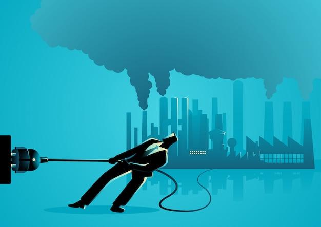 Empresário, desconectando a fábrica poluída
