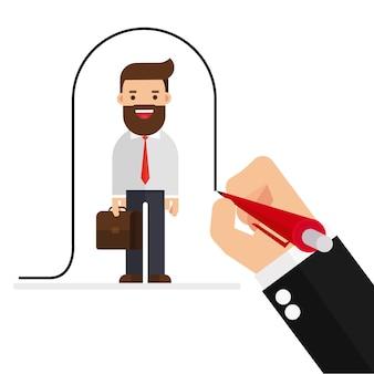 Empresário desenha uma linha cobrindo o cliente