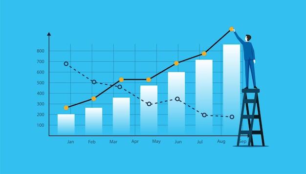 Empresário desenhando gráfico financeiro, ilustração do conceito de negócio