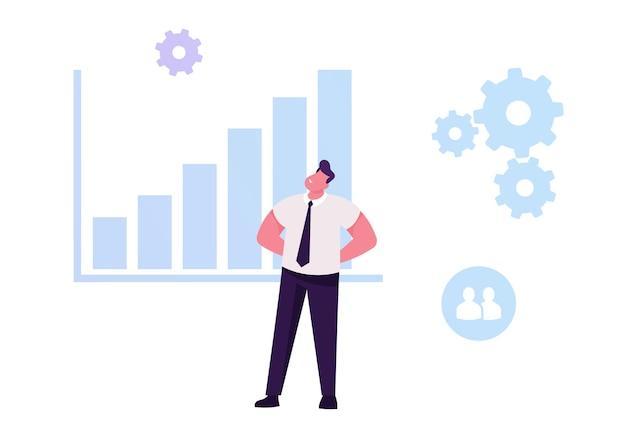 Empresário, desenvolvendo gráfico de dados de estatísticas de análise de potencial. ilustração plana dos desenhos animados
