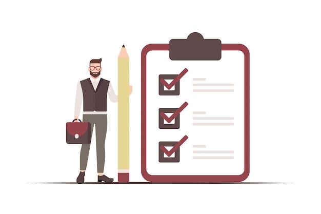 Empresário detém um lápis e um quadro de lista de verificação