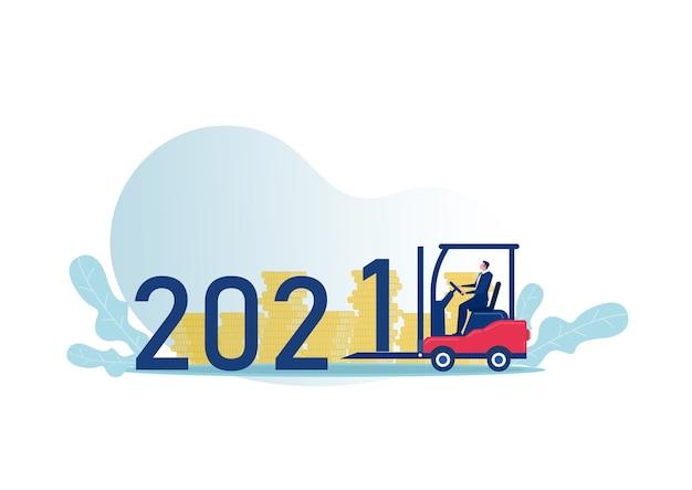 Empresário dirigindo empilhadeira carregando 2021 número de entrega e conceito de transporte feliz ano novo, celebração dos feriados de inverno