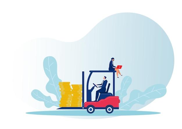 Empresário dirigindo empilhadeira carregando entrega de moedas de um rico conceito de negócios
