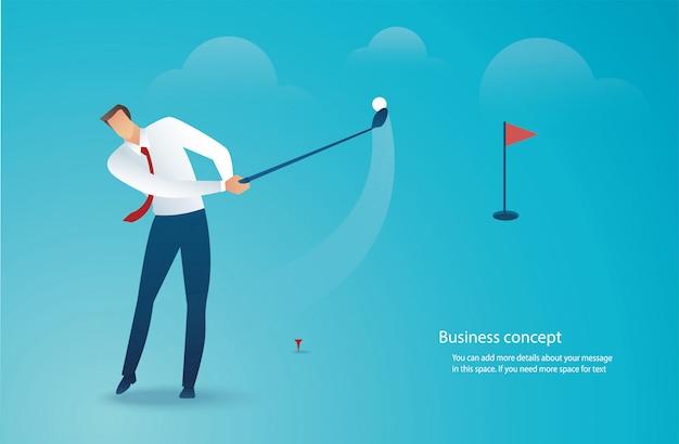 Empresário dirigindo vetor de golfe