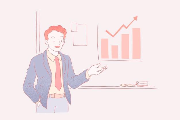 Empresário discursando em reunião