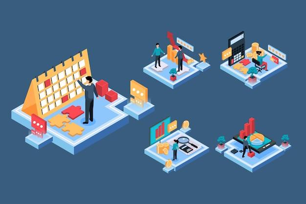 Empresário do visual two com calendário e tempo de trabalho, conceito de negócio de finanças, ilustração isométrica