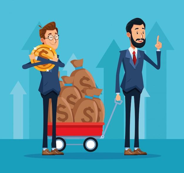 Empresário dos desenhos animados, abraçando uma moeda de dinheiro e empresário com carrinho com sacos de dinheiro