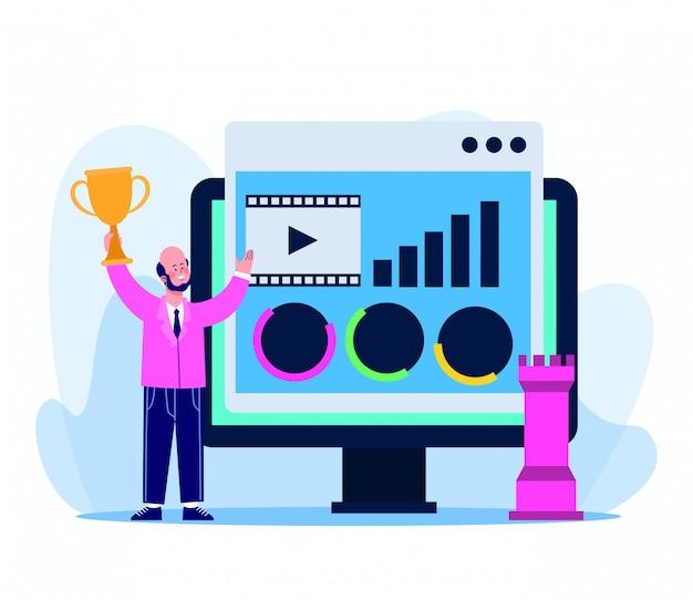 Empresário dos desenhos animados com computador e página da web em branco
