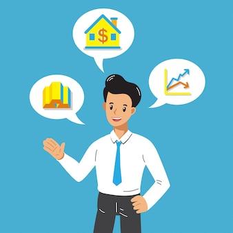 Empresário dos desenhos animados com diferentes opções de investimento