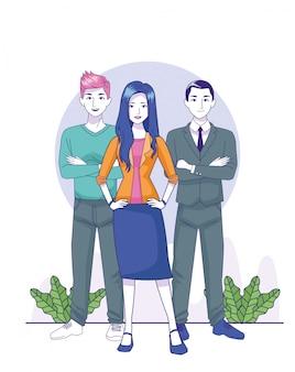 Empresário dos desenhos animados com jovem e homem de pé