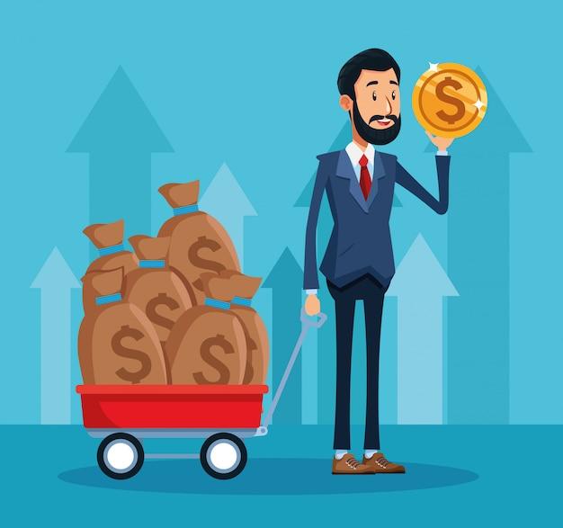 Empresário dos desenhos animados com moedas de dinheiro e carrinho com sacos de dinheiro