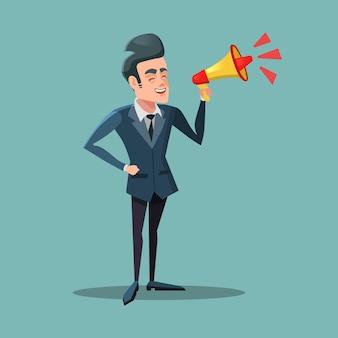 Empresário dos desenhos animados com o megafone. anúncio.