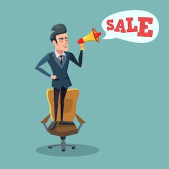 Empresário dos desenhos animados de pé na cadeira do escritório com o megafone e promoção de venda. grande desconto.