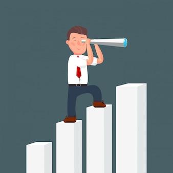 Empresário dos desenhos animados de pé no topo do diagrama de ascensão usando o telescópio à procura de sucesso