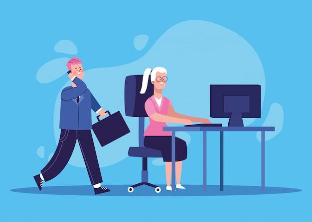 Empresário dos desenhos animados e mulher trabalhando no escritório