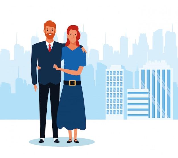 Empresário dos desenhos animados e sua esposa em pé