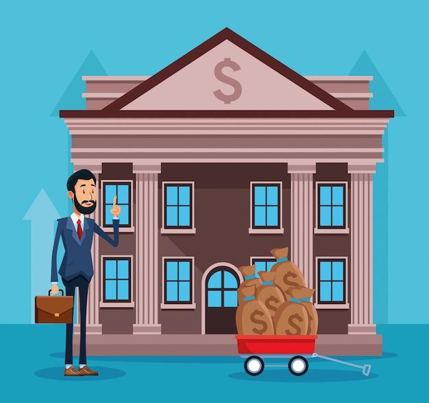 Empresário dos desenhos animados em frente ao banco com trollery com sacos de dinheiro sobre azul