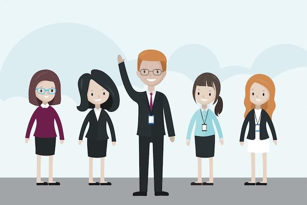 Empresário dos desenhos animados em pé na frente do grupo, levantando a mão