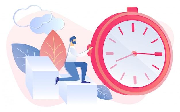Empresário dos desenhos animados iniciar temporizador relógio prazo