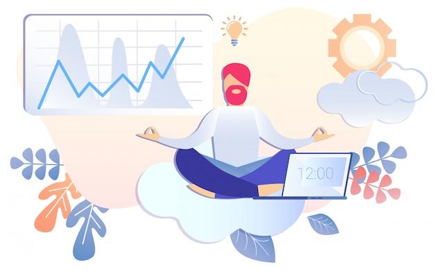 Empresário dos desenhos animados, meditando pausa de trabalho ao meio-dia