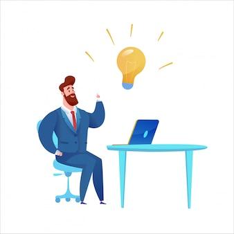 Empresário dos desenhos animados no terno, tendo uma idéia com a lâmpada. gerente de barbudo criativo no escritório.