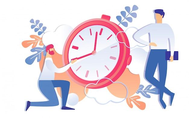 Empresário dos desenhos animados, pare de mover a mão na face do relógio