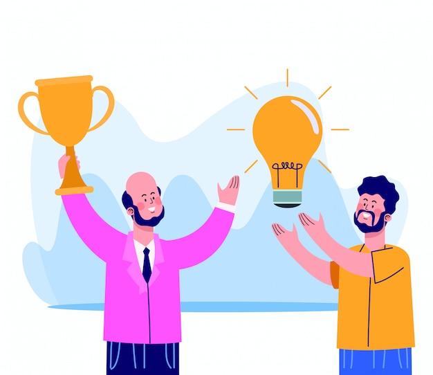 Empresário dos desenhos animados, segurando uma xícara de troféu e homem com lâmpada em branco