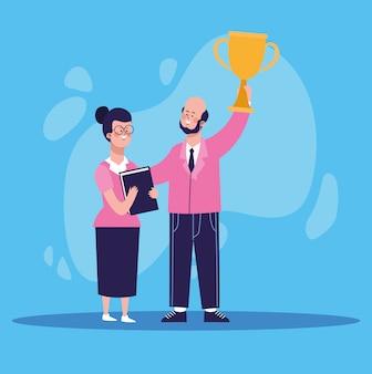 Empresário dos desenhos animados, segurando uma xícara de troféu e mulher em pé