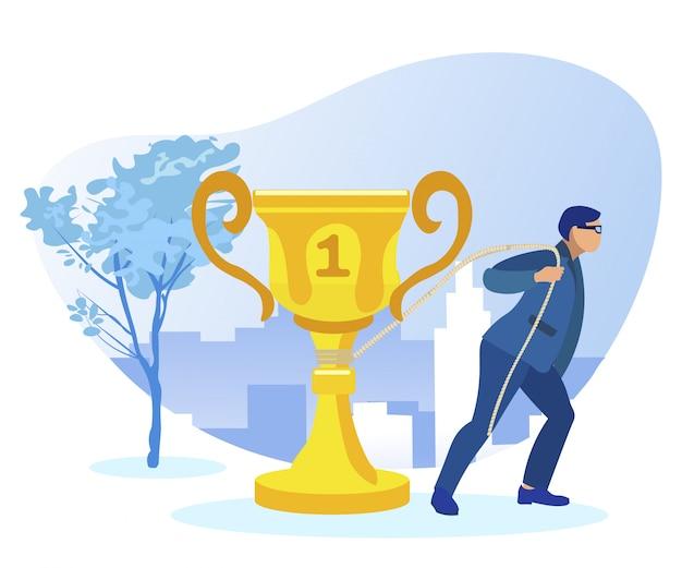 Empresário dragging golden cup like cart horse