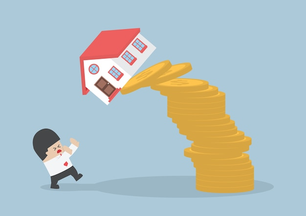 Empresário e casa caindo e moedas