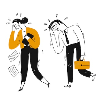 Empresário e colega de trabalho estão andando chorando