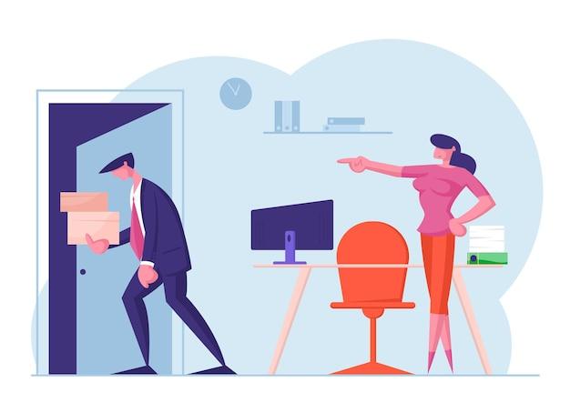 Empresário é despedido colarinho chateado com caixas de papelão nas mãos, saindo do escritório