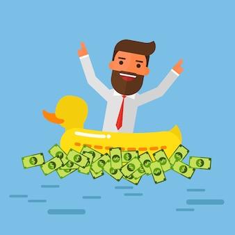Empresário e dinheiro com pato de borracha de anel de natação