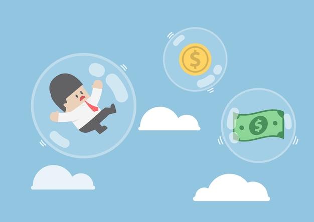 Empresário e dinheiro dólar flutuando em bolhas